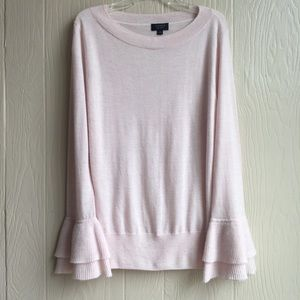 J. Crew Light Pink Cashmere Bell Sleeves Sweater